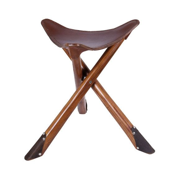 Wood leather chair, stool, outdoor chairs, detachable chair, Tripod Stool, folding, fishing, cafe, industrial, vintage, wooden, armless, bar
