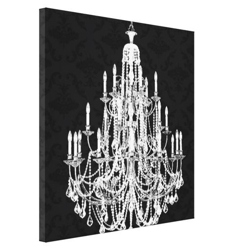 Love this print for our dining room or maybe bedroom. Chandelier Black Damask Canvas Print #zazzle