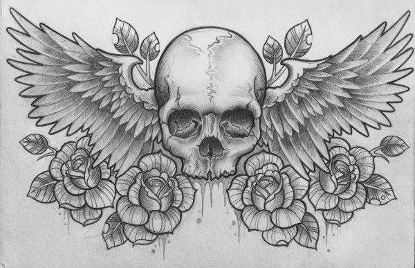 Roses Bird Candy Skull Tattoo Samples photo - 1