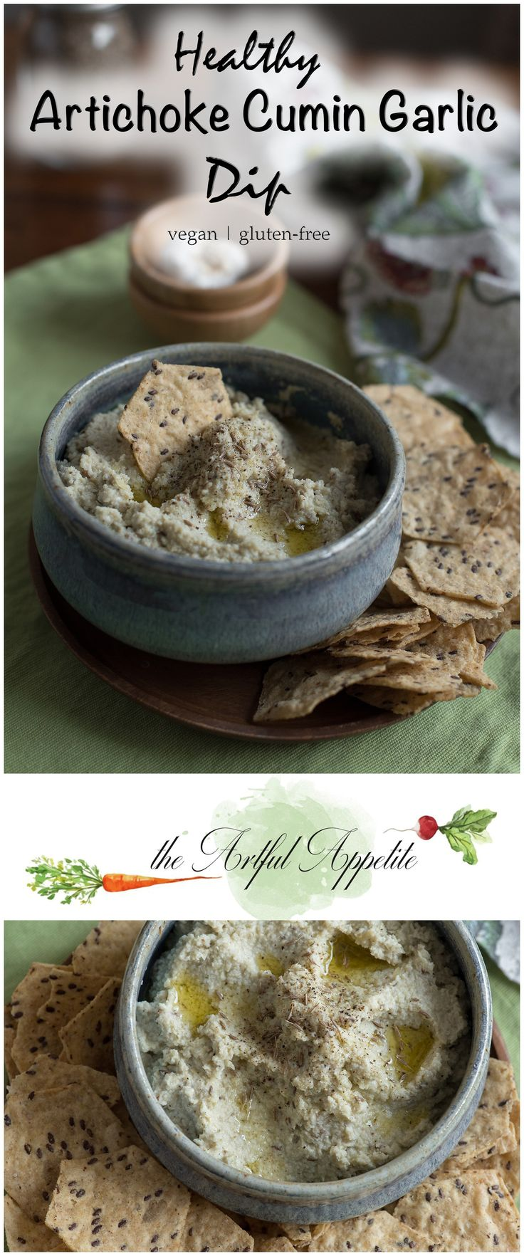 A simple dip perfect for game day! Healthy Artichoke Cumin Garlic Dip is vegan, gluten-free and delicious.