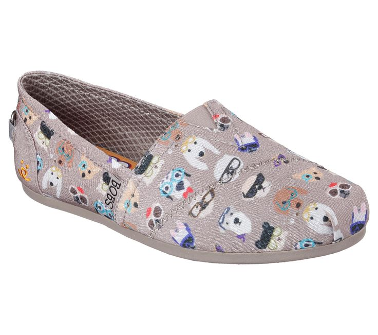 Proper pooches and their friends will love the Skechers BOBS for Dogs Bobs Plush - Pup Smarts shoe. Soft woven textile upper with colorful cartoon dogs wearing glasses print in a slip on casual comfort alpargata flat with Memory Foam insole.