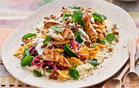 Seared chicken and couscous salad with orange, almonds and sultanas: Offered to make the salad for this weekend's gathering? No sweat! This hearty dish is full of flavours and textures it looks great, too.