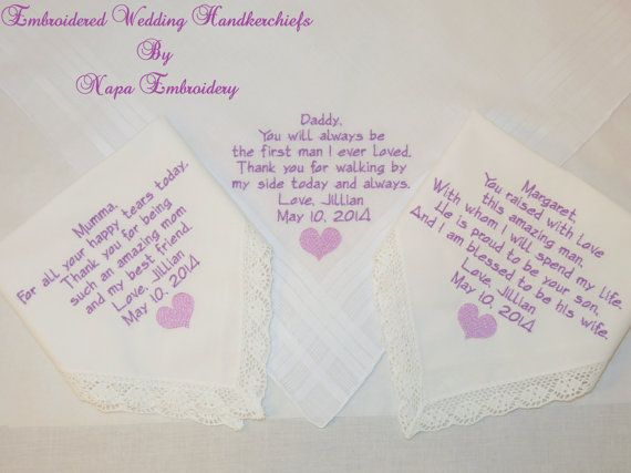Personalized Embroidered Wedding Handkerchiefs gifts for Parents from the  bride by Napa Embroidery