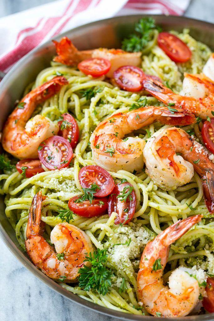 recipe for shrimp pesto pasta is spaghetti tossed in a flavorful pesto ...