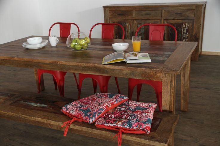 Lyon 'Old Door' range furniture with red Pop chairs