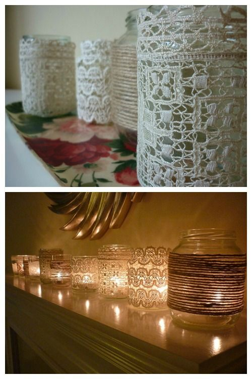 wrap mason jars in lace and twine for vintage style votive candle holders