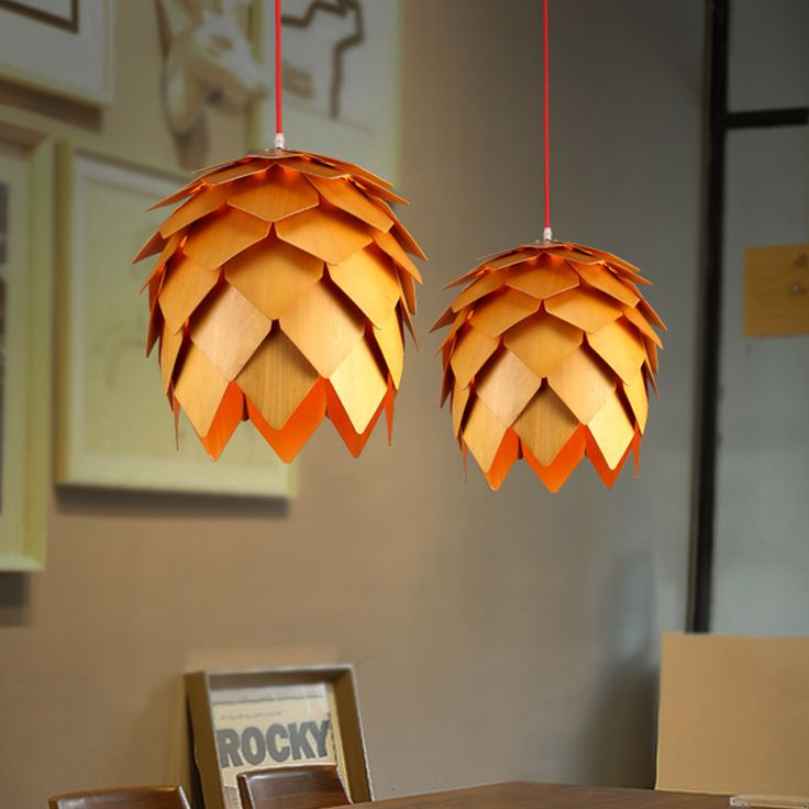 Cheap Lamp Neon Buy Quality Express Directly From China Hanging Suppliers Modern Art OAK Wooden Pinecone Pendant Lights Wood PH