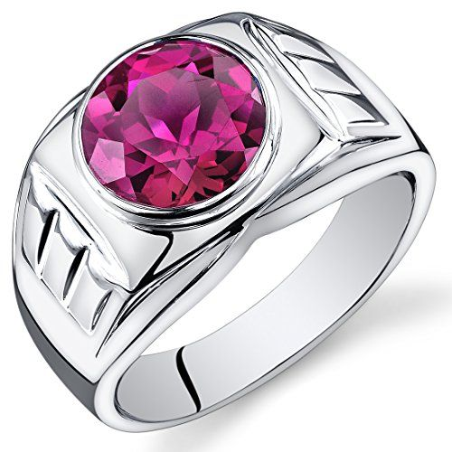 Revoni Mens 5.50 Carats Round Cut Ruby Ring In Sterling Silver With Rhodium…