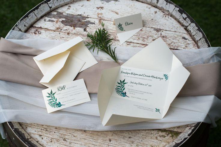 Custom rustic wedding invitation | Origami wedding invitation by A Tactile Perception | Greenery place card | Rustic RSVP card