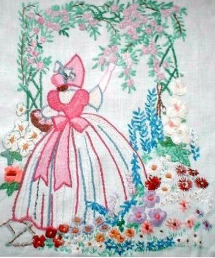 Crinoline Lady Arbor Embroidery Transfer Deighton1511