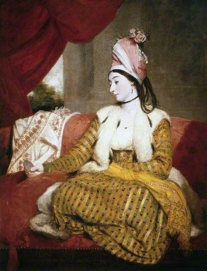 Mrs Baldwin (1763–1839), in Eastern Dress, 1782,  by Joshua Reynolds. Mrs Jane Baldwin (1763–1839) was the daughter of William Maltass, a merchant who traded with the East through the Levant company. She was born in Myrna, Turkey in June 1763 and married George Baldwin who became British Consul- General in Egypt.