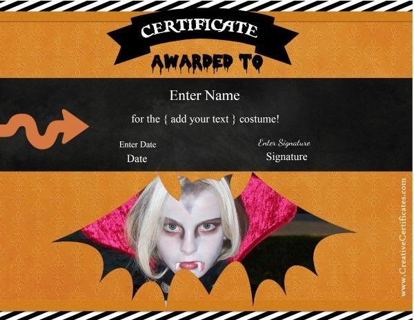 Halloween certificate templates. Add a photo of the recipient in costume and customize the text with our free online certificate maker. Free instant download.