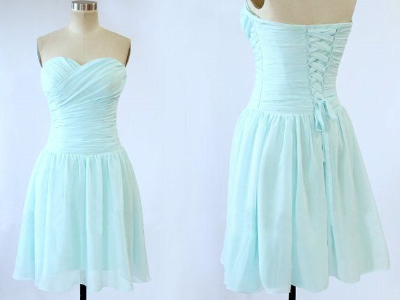 Baby Blue Lace Up Strapless Ruffle Sleeveless Short Chiffon Dress Prom Dress Party Dress Evening Dress Homecoming Dress Bridesmaid Dress on Etsy, $89.13 CAD
