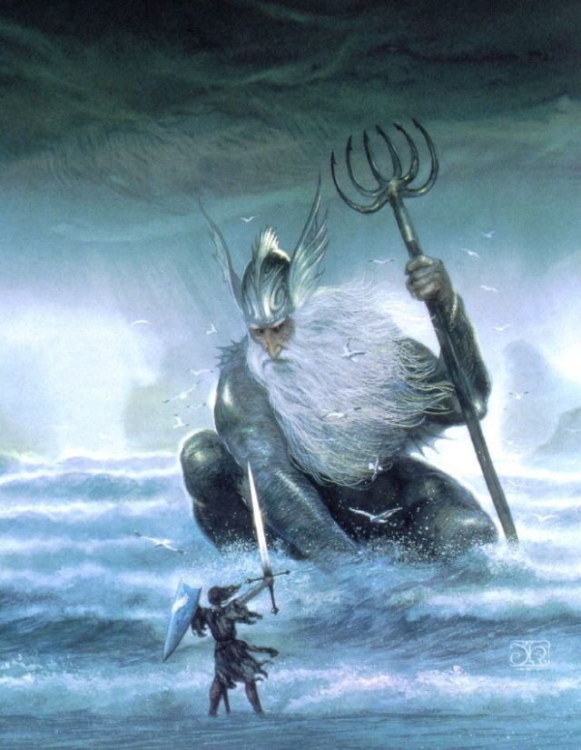 It has been told how by the guidance of Ulmo Turgon of Nevrast discovered the hidden vale of Tumladen… ~ The Silmarillion, Chapter 15 (detail of: Ulmo, Lord of the Waters by John Howe)