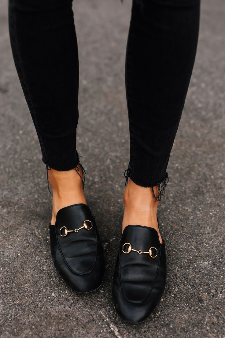 Woman Wearing Gucci Black Princetown Loafer Mules Black Ripped Skinny Jeans Fash... 1