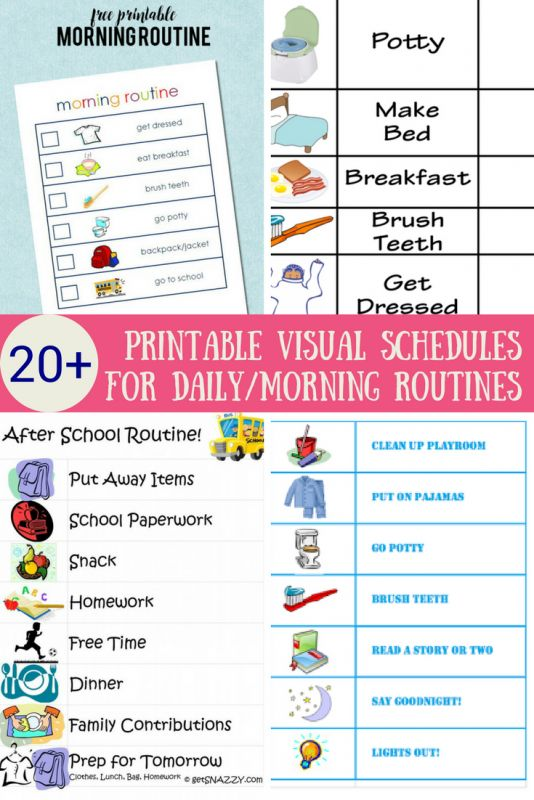 free printable visual schedules home daily routines