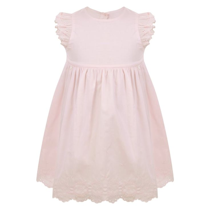 BABY GIRLS PINK DRESS WITH FRILL SLEEVES AND FLORAL DESIGN HEM