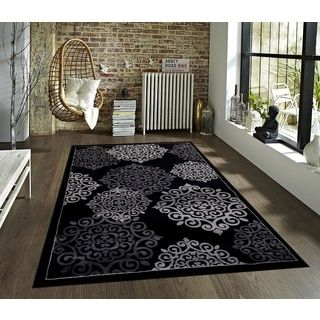 Shop for Persian Floral Collection Black Polypropylene Rug (8' x 10'). Get free shipping at Overstock.com - Your Online Home Decor Outlet Store! Get 5% in rewards with Club O!