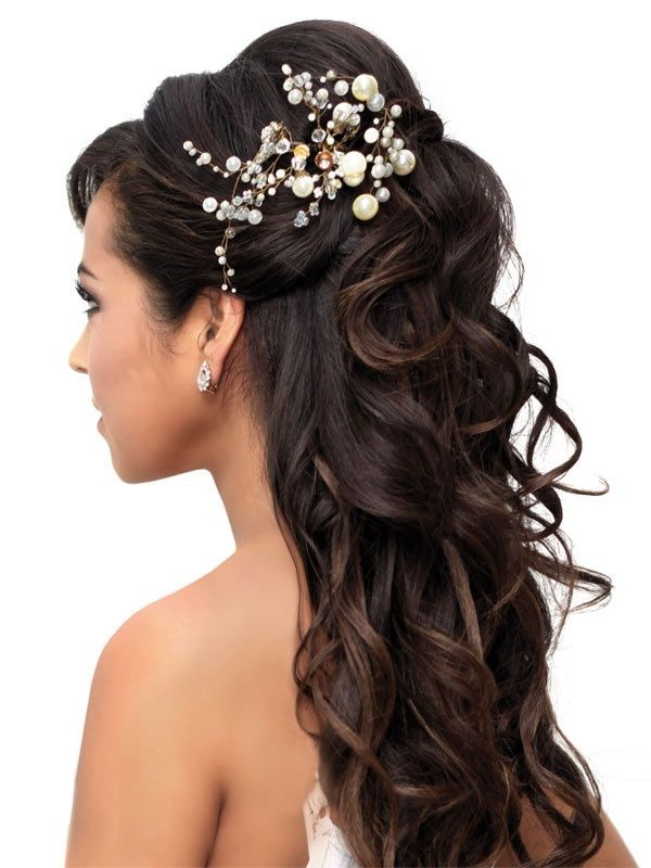 Half up half down dark brown bridal wedding curly long hair style crystal pearl hair accessory