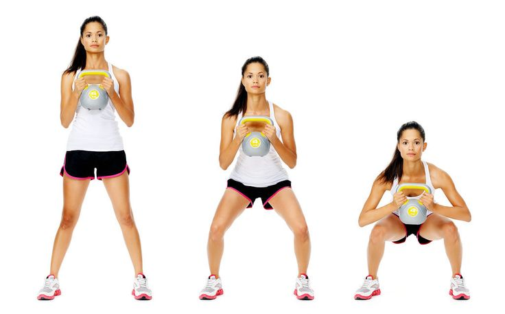 This move is a great exercise for toning the glutes, and while you can use a dumbbell to execute the move, using a kettlebell will work more muscles and help challenge your balance. Here's how to do a kettlebell squat: Stand with feet wide, toes