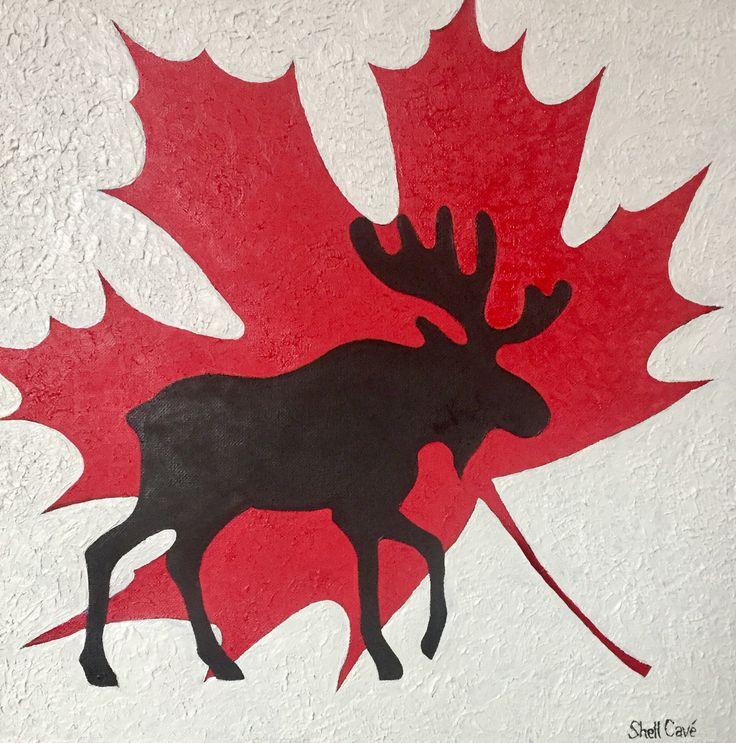 Just completed this oil painting on Canvas 'Canada Eh!' 20 x 20 inches $125  www.shellcavestudio.com www.facebook.com/shellcavestudio  #painting #oilpainting #moose #mapleleaves #ohcanada #art #artist #artstudio #shellcavestudio #shellcaveart #canadianheritage #canadianart #edmontonart