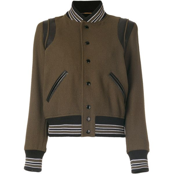 Saint Laurent classic Teddy jacket ($2,550) ❤ liked on Polyvore featuring outerwear, jackets, green, punk leather jacket, punk rock jacket, leather varsity jackets, tailor leather jacket and green jacket