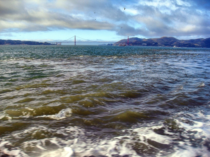 On the Alcatraz Ferry;    The Golden Gate Bridge from afar;  San Francisco Tour '12