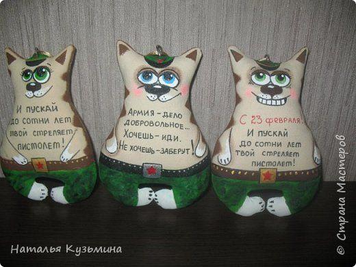 Игрушка 23 февраля Шитьё Коты солдаты и др Краска Мех Мешковина Ткань Фарфор холодный фото 2