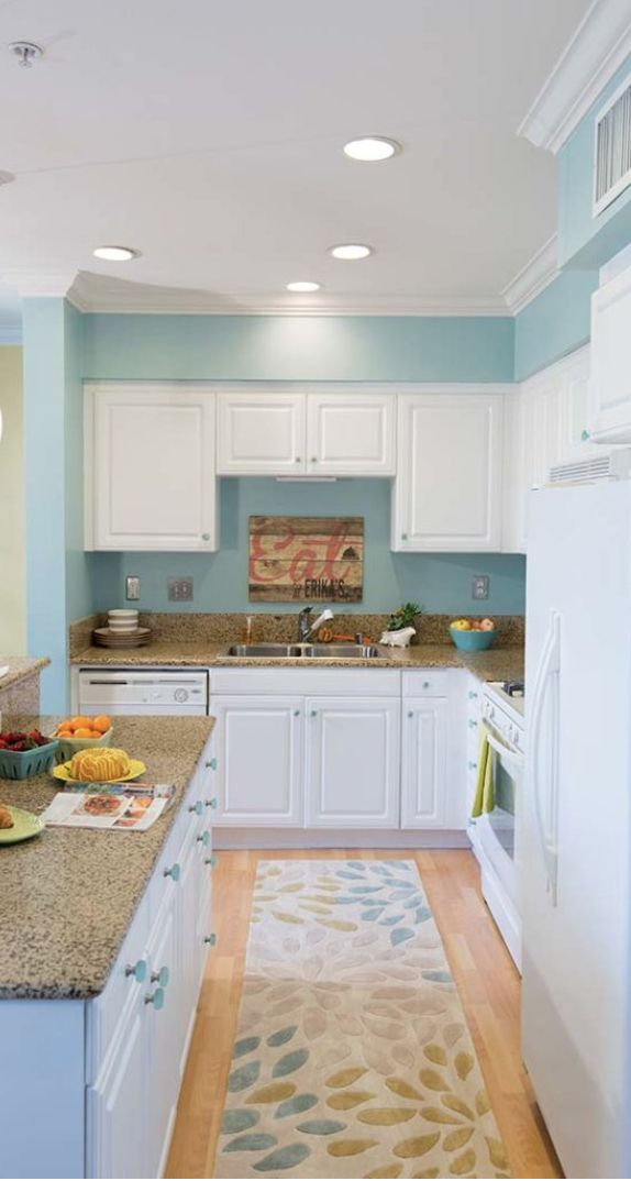 Let Behr help you take your home into the 21st century with this list of 2017 Color Trends. This kitchen got a fresh new makeover with colors like Polished Aqua and That's My Lime. Throw in some coordinating accent pieces and you'll feel like you're in a brand new room. |@homedepot