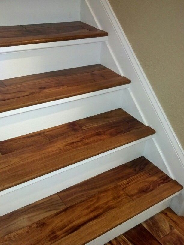 Beautiful Replaced Old Carpeted Stairs With New Risers And Baseboard, Leveled Old  Treads And Covered Them With Acacia To Match The Rest Of Our Floors.