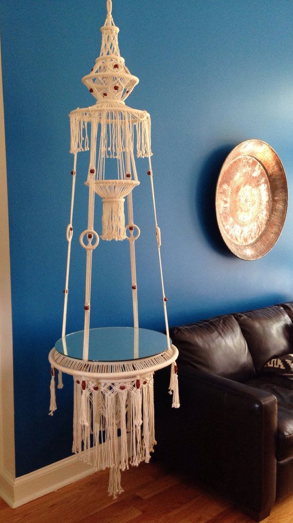 Hanging macrame table by BombshelvesMod on Etsy, $150.00 ...
