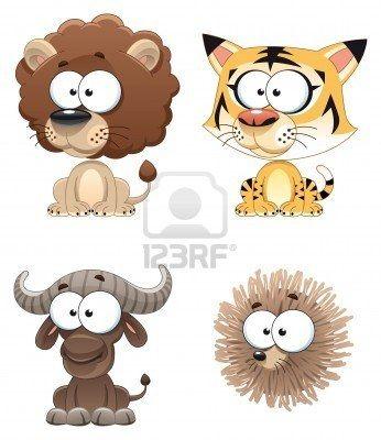 Grappige dieren van Afrika. Strip figuren. Stockfoto - 6156448