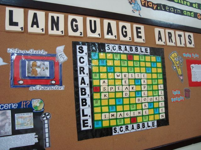 Make the front board a huge scrabble board and have seven tiles at the bottom every week that students can create words with making it interactive.  Could even have different tiles for each class and the different class periods can compete against each other