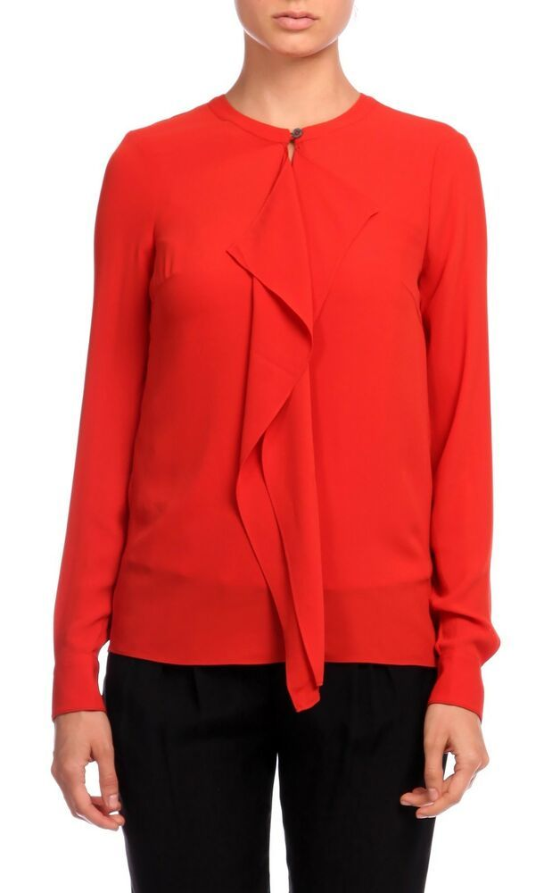 0ff57297ea93f Details about Karen Millen Red Modern Minimal Drape HY006 Formal Shirt  Office Blouse Top 10 38