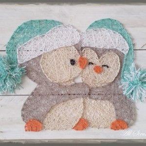 Cuddle Penguins string art More