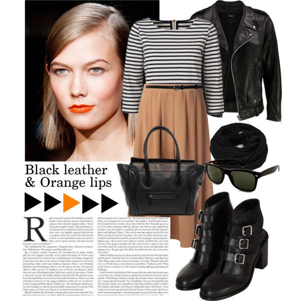 Black leather&Orange lips