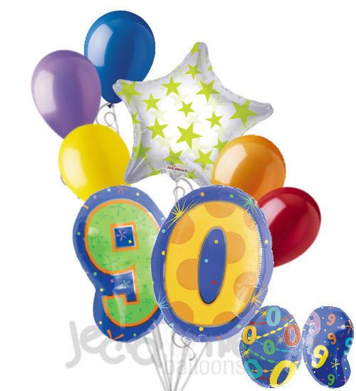 8 pc 90th Birthday Theme Balloon Bouquet Party Decoration Number Primary Color | eBay