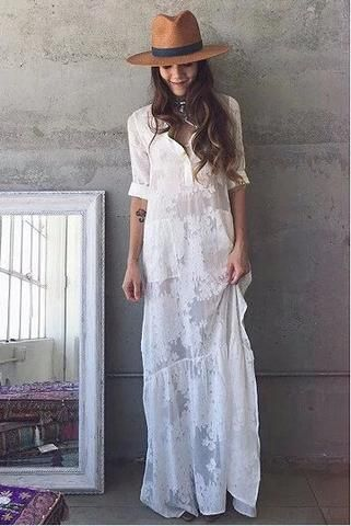 BOHO Slit Side Lace White Chiffon Maxi Dress  Lapel Long Sleeve Beach  Dress