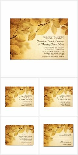 Rustic Fall Wedding Invitation Set With Leaves A rustic fall wedding invitation set with yellow and brown leaves. Included are: wedding invitations, a rehearsal dinner and reception invitation, RSVP cards, Thank You cards, various enclosures and much more! - **Explore More Theme Match Sets at...  http://www.Zazzle.com/WeddingInvitationKit
