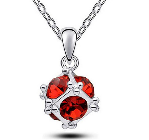 Fashion Womens Cube Red Crystal Rhinestone Silver Chain Pendant Necklace HOT - https://barskydiamonds.com/necklaces/