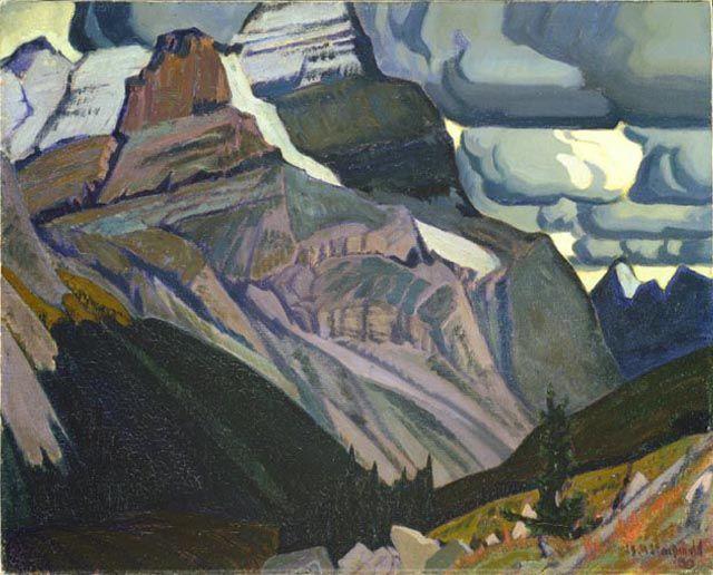 Dark Autumn, Rocky Mountains, 1930 by J. E. H. MacDonald. Art Nouveau (Modern), Symbolism. landscape