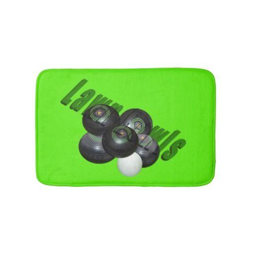 Lawn Bowls Logo Green memory Foam Bath Mat. Bath Mats