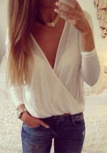 Mesh Shell V Neck Shirt - White - Plunging V Neck Top