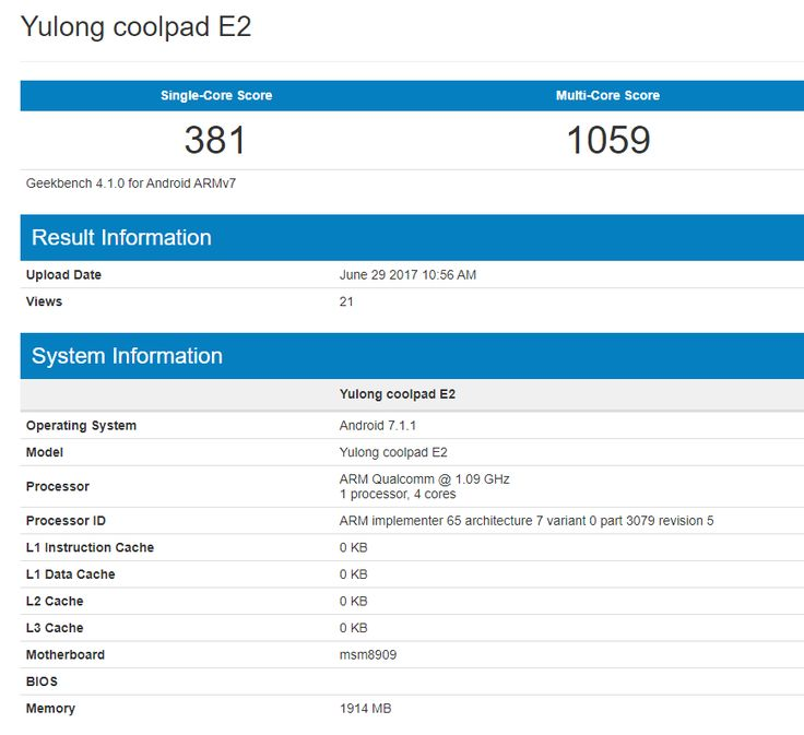 Coolpad planning to launch new smartphone that call E2. Recently on Geekbench smartphone spotted & revealed some specs. The specs of the E2 indicate that the price could be 6k to 7k.  Coolpad E2 has 2GB RAM & powered by Qualcomm Snapdragon 210 quad-core processor clocked at 1.09GHz. The E2 single-core score is 381 & multi-core score is 1059.   No more detail revealed yet so stay tuned with us.