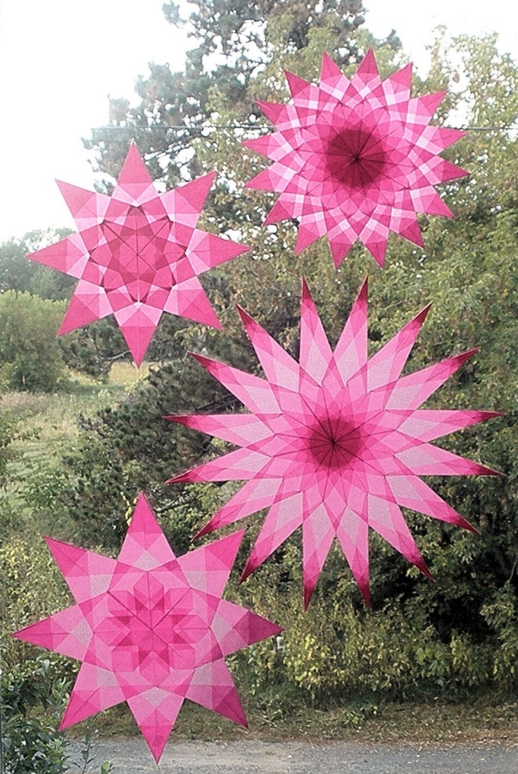Pink window stars by Harvest Moon by Hand.