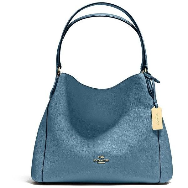 COACH Edie Pebbled Leather Shoulder Bag ($340) ❤ liked on Polyvore featuring bags, handbags, shoulder bags, apparel & accessories, cornflower, slouchy shoulder bag, shoulder hand bags, shoulder bag purse, coach purses and slouchy handbags