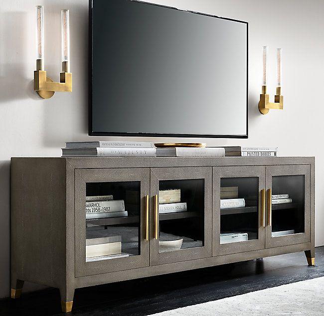 Graydon Shagreen Glass 4 Door Media Console Media Center Ideas Living Rooms Living Room Tv Stand Media Consoles Decor