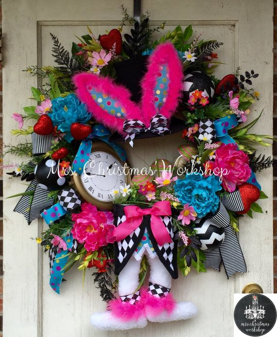 Easter wreath Easter Grapevine Easter bunny wreath with top hat bunny ears and…