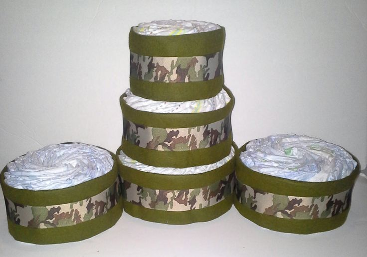 camouflage army themed baby shower 3 tier by ReadyMadeDiaperCakes