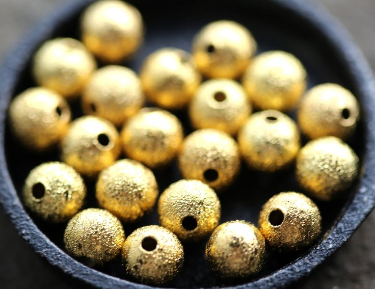 Top Quality Luxury Round Gold Spacer Beads, Gold Plated Beads Spacer Bead Findings Gold Bead Spacers Jewelry Findings Wholesale Beads SFG050 by FoxyBeadsCo on Etsy